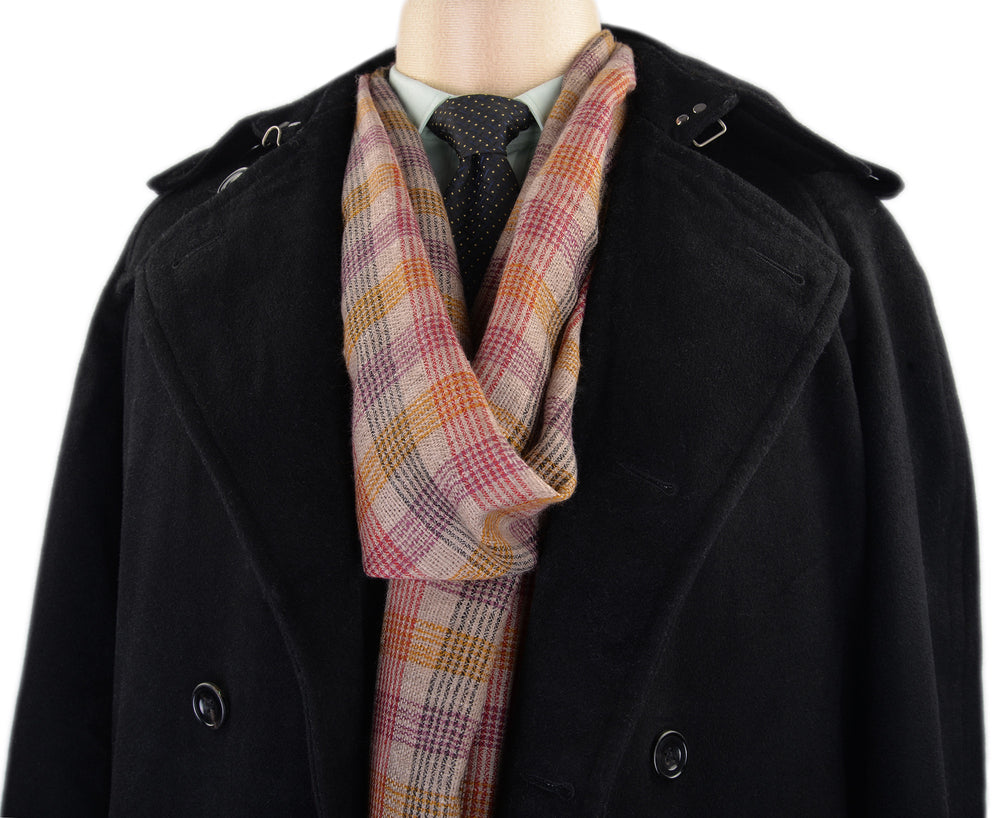 Pashmina Cashmere Wool Scarf Red Purple Yellow Checks (3970858308)