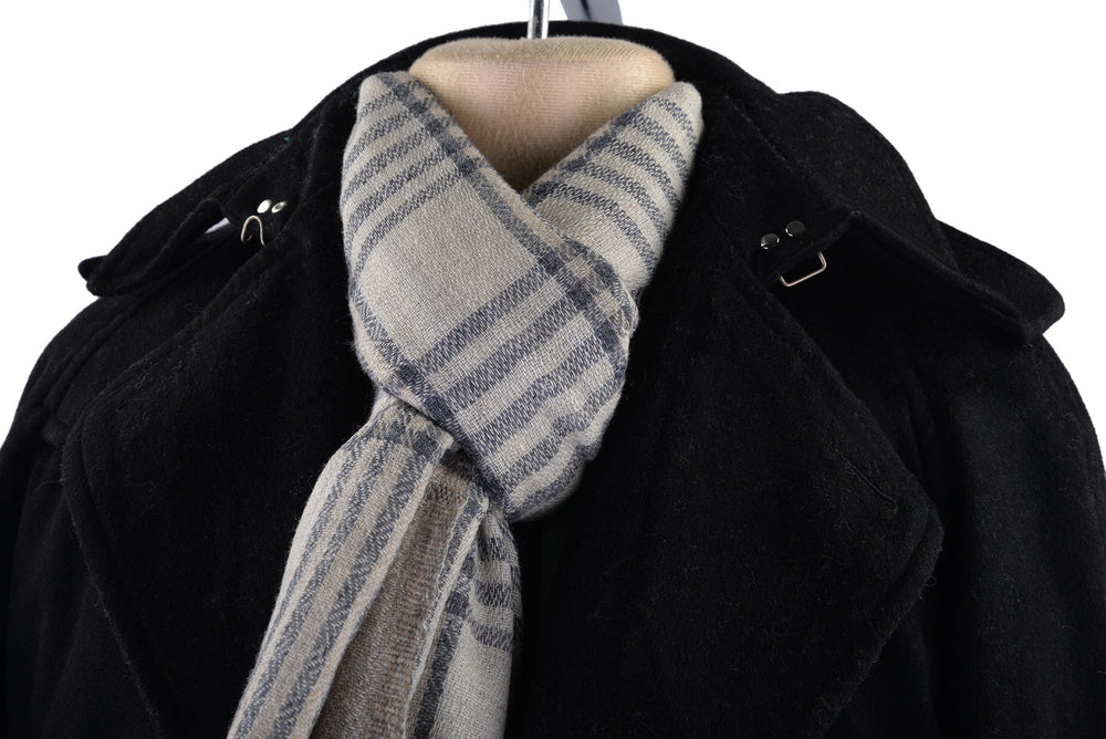 Cashmere Wool Scarf Grey White Diagonal Stripes