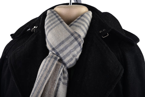 Cashmere Wool Scarf Dove Grey Off-White Checks