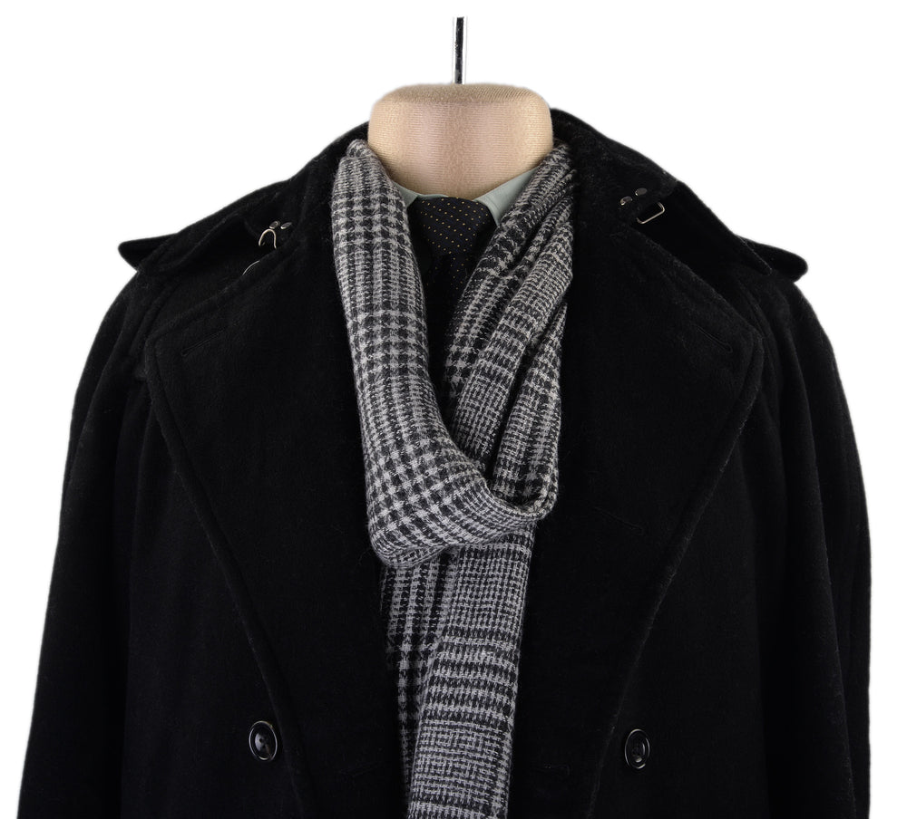 Cashmere Wool Scarf Black White Checks (3970842692)