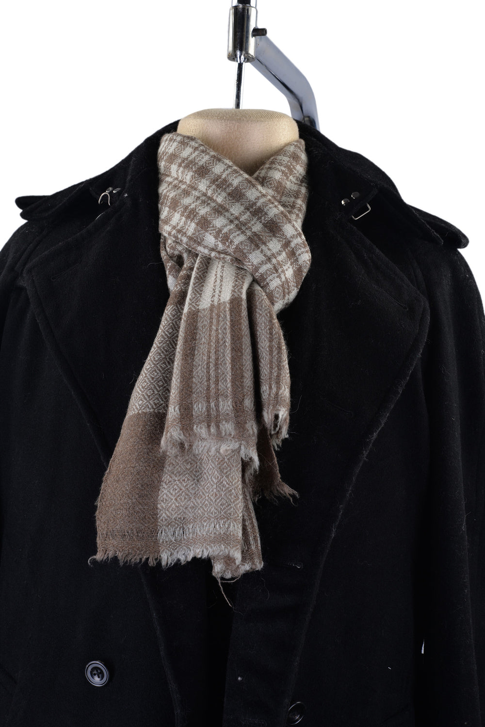 Cashmere Wool Scarf Brown Off-White Checks With Self Design