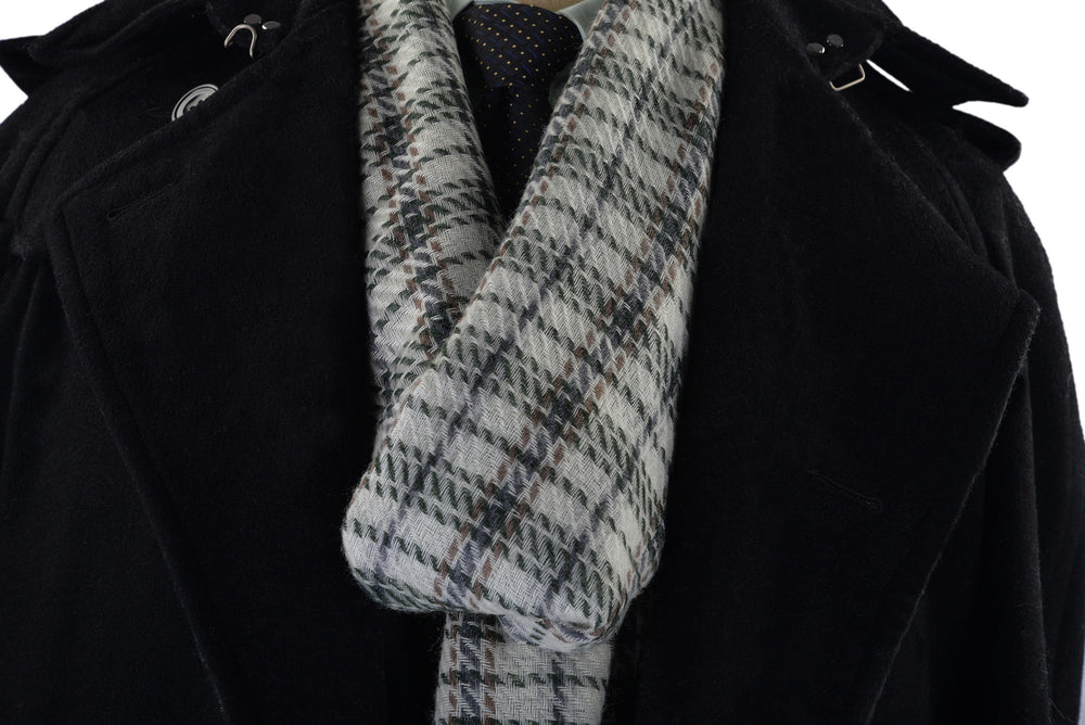 Cashmere Wool Scarf Green Navy Checks On Off White