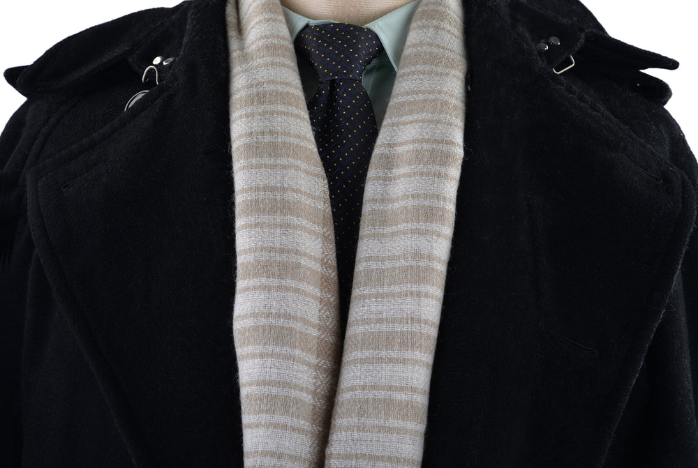 Cashmere Wool Scarf Fade Brown Cream Checks With Self Design (3970838852)