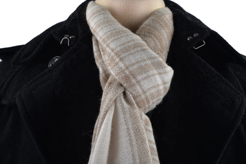 Cashmere Wool Scarf Fade Brown Cream Checks With Self Design