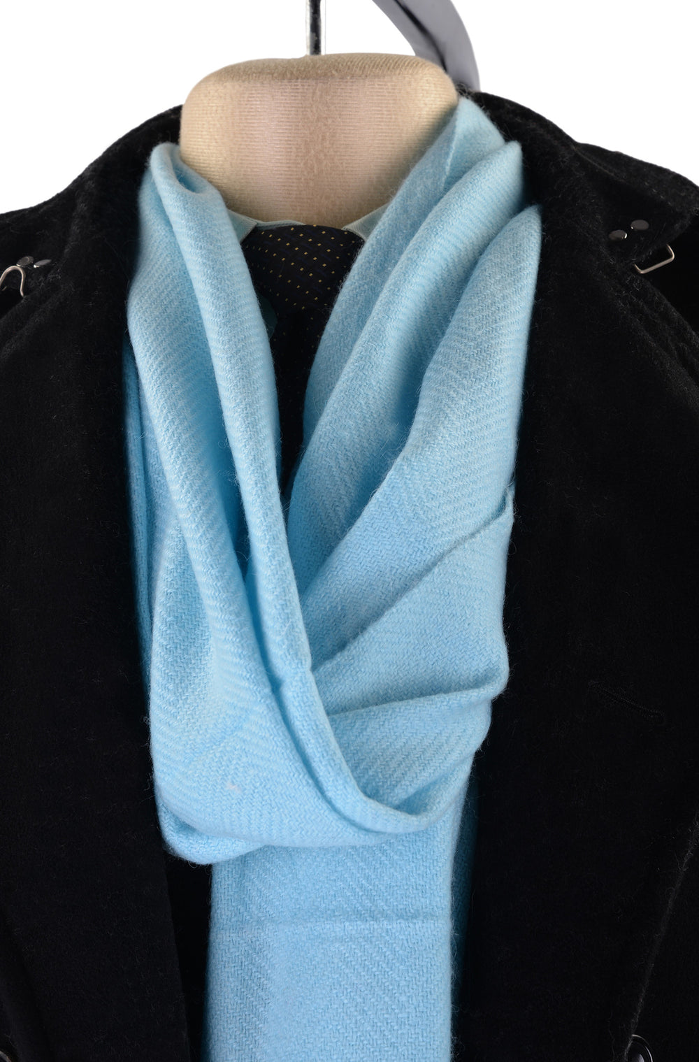 Cashmere Wool Scarf Light Blue Herringbone