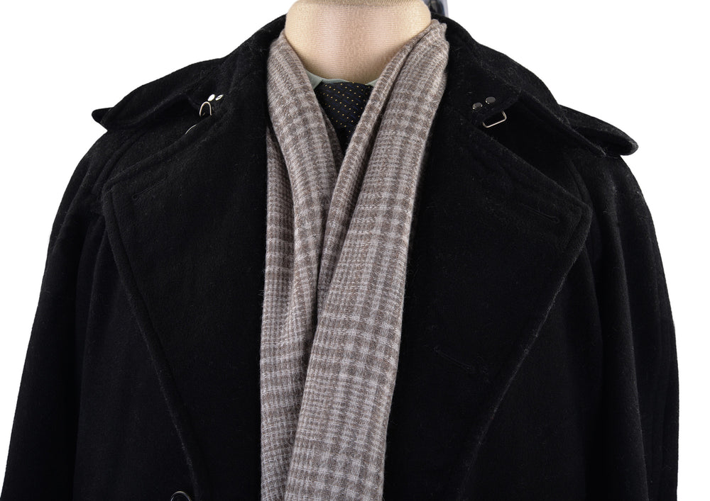 Cashmere Wool Scarf Brownish Grey Checks On Cream (3970855428)