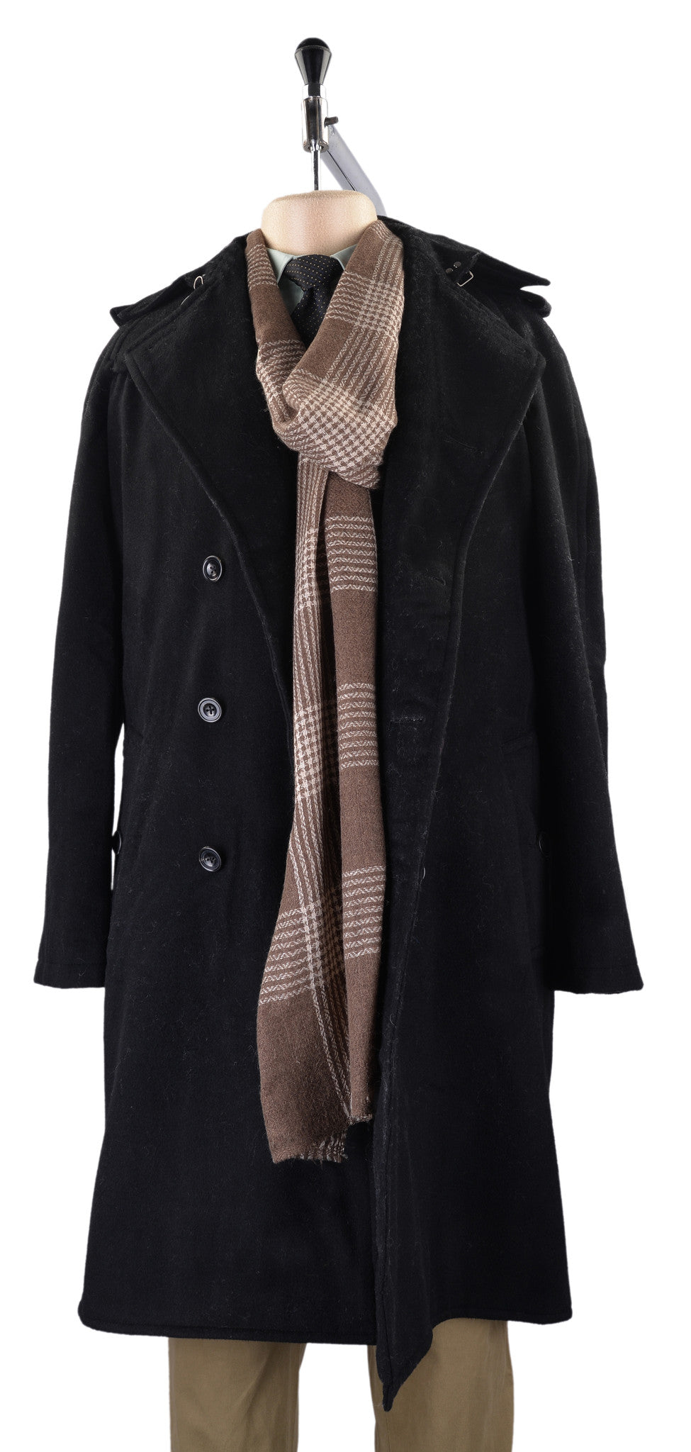 Cashmere Wool Scarf Cream Checks On Brown