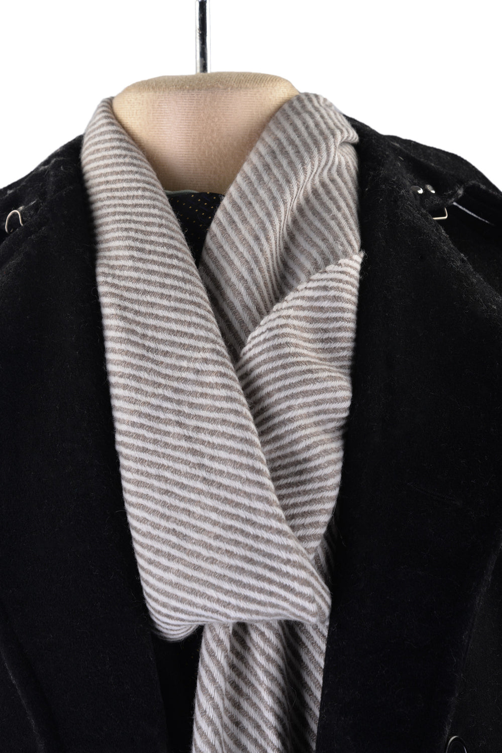 Cashmere Wool Scarf Grey Cream Diagonal Stripes (3970833924)