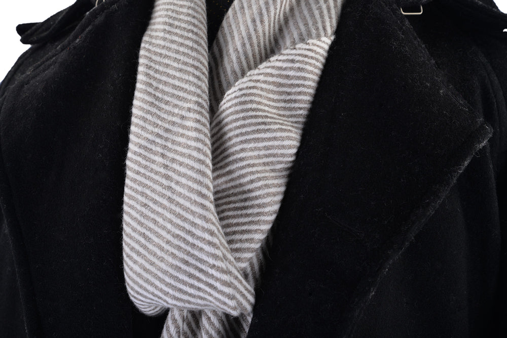Cashmere Wool Scarf Grey Cream Diagonal Stripes