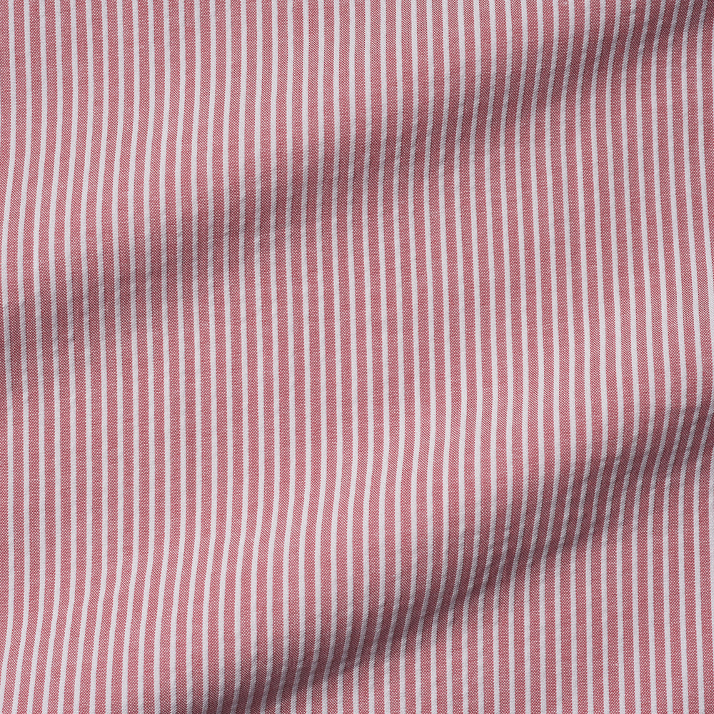 Pale Red White Pin Stripes Seersucker