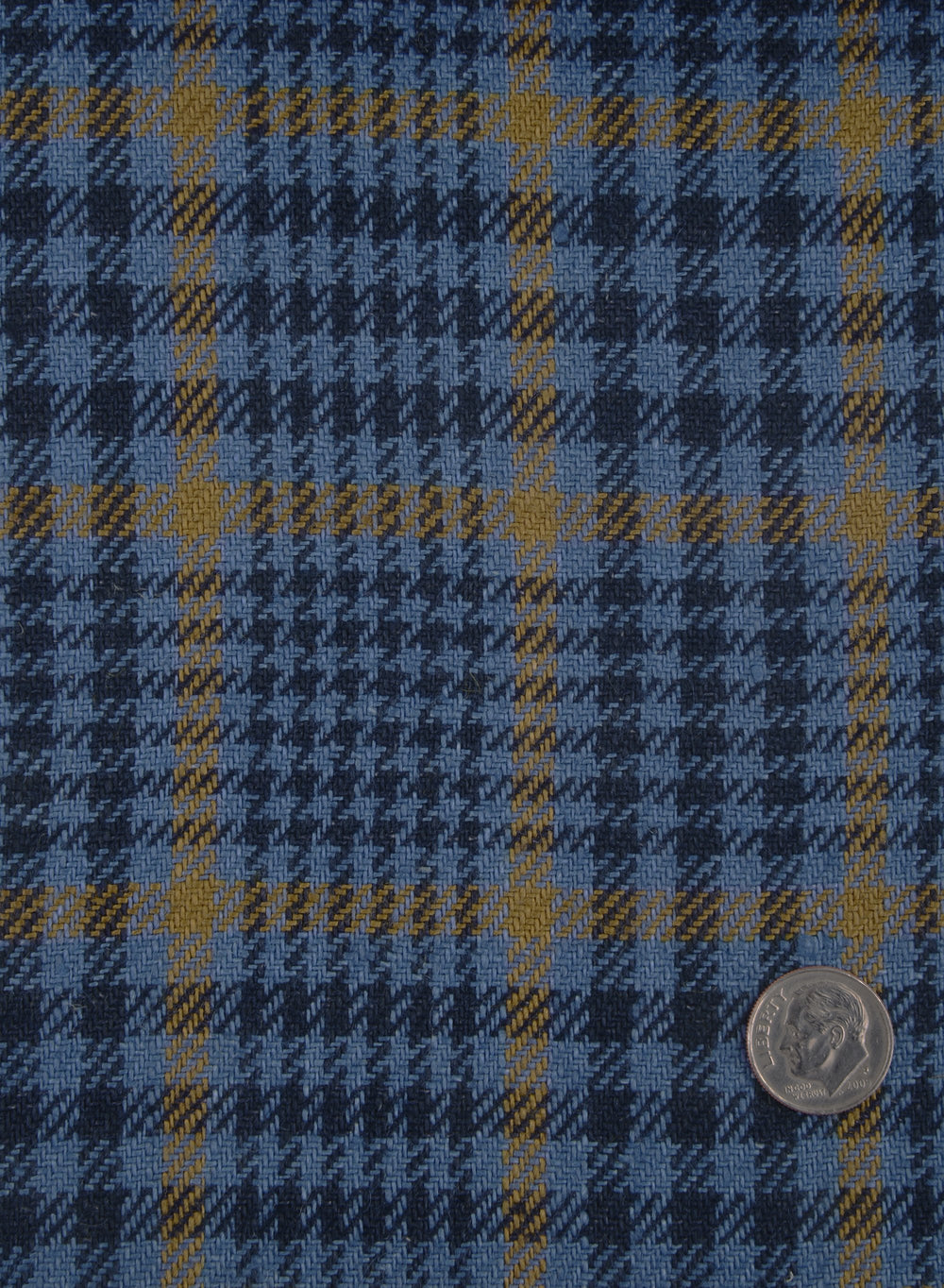 Dugdale Lt Blue Black Check With Gold Overcheck