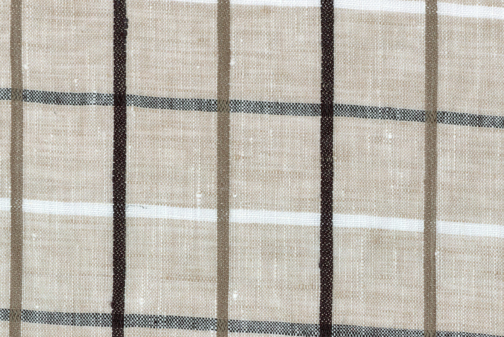 Ecru Brown Windowpane Linen