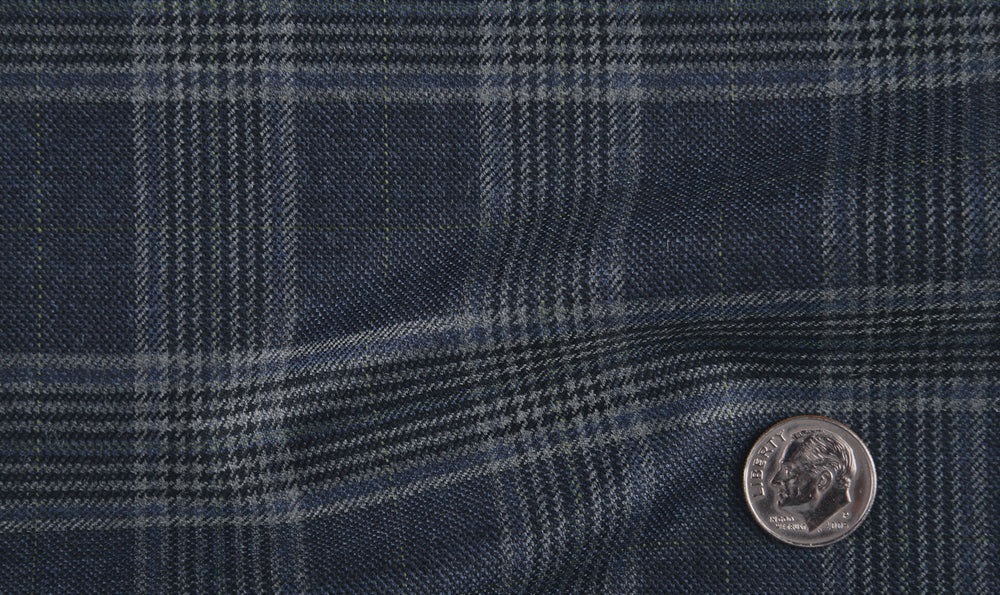 EThomas Wool Cashmere: Dark Blue Glen