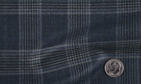 EThomas Wool Cashmere: Dark Blue Glen  Jacket