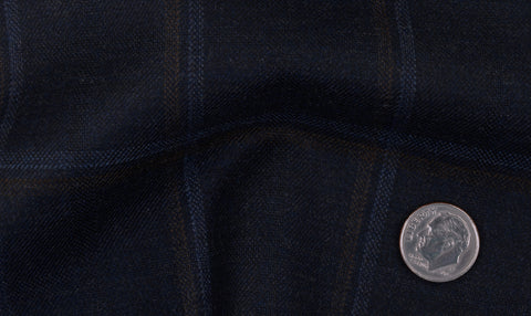 EThomas Wool Cashmere: Dark Blue Double Windowpanes  Jacket