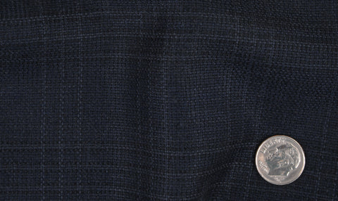 EThomas Wool Cashmere: Dark Blue Tattersal Jacket