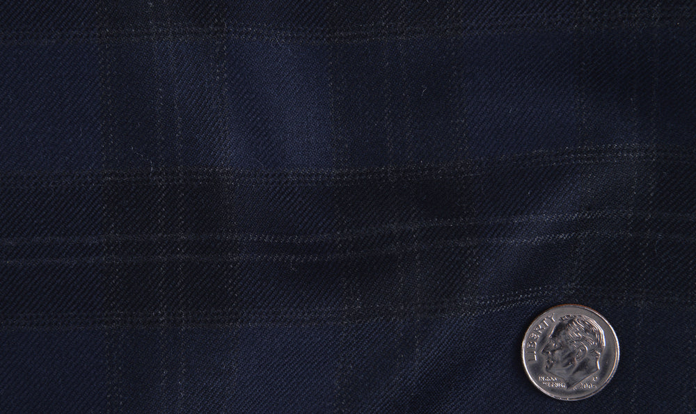 EThomas Wool Cashmere: Dark Blue Tartan Checks Jacket