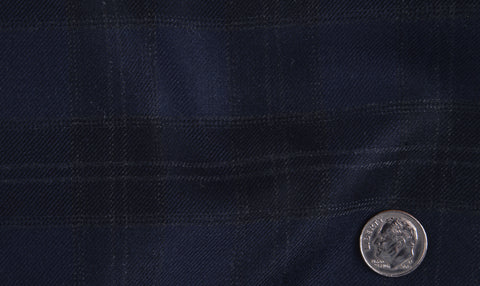 EThomas Wool Cashmere: Dark Blue Tartan Checks