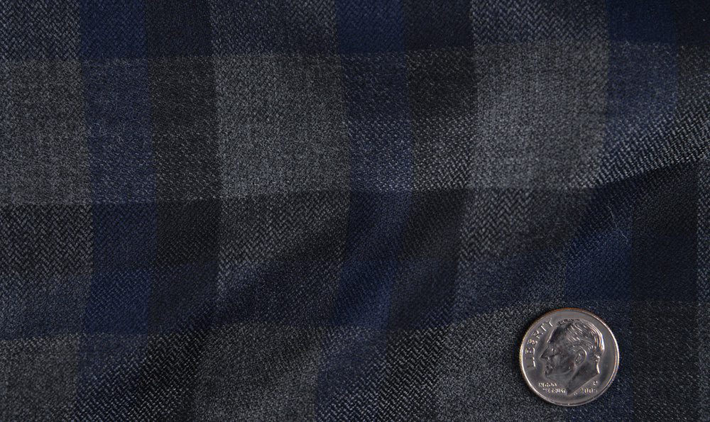 EThomas Wool Cashmere: Dark Blue Herringbone  Jacket