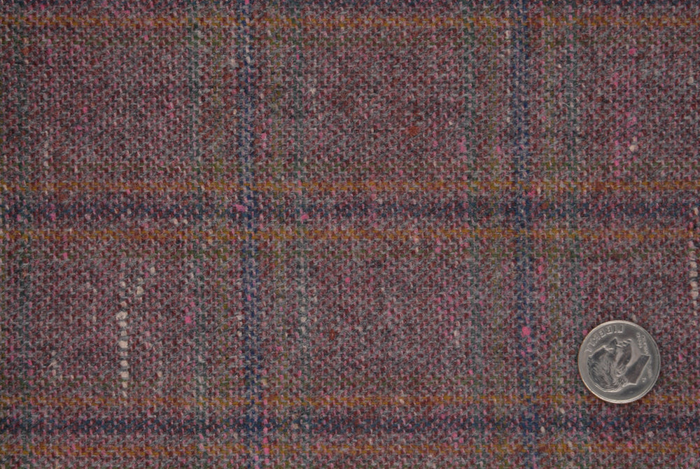 EThomas Wool Silk Cashmere: Maroon Tattersal Windowpane
