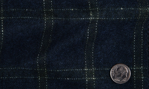 EThomas Wool Cashmere: Dark Blue Windowpane