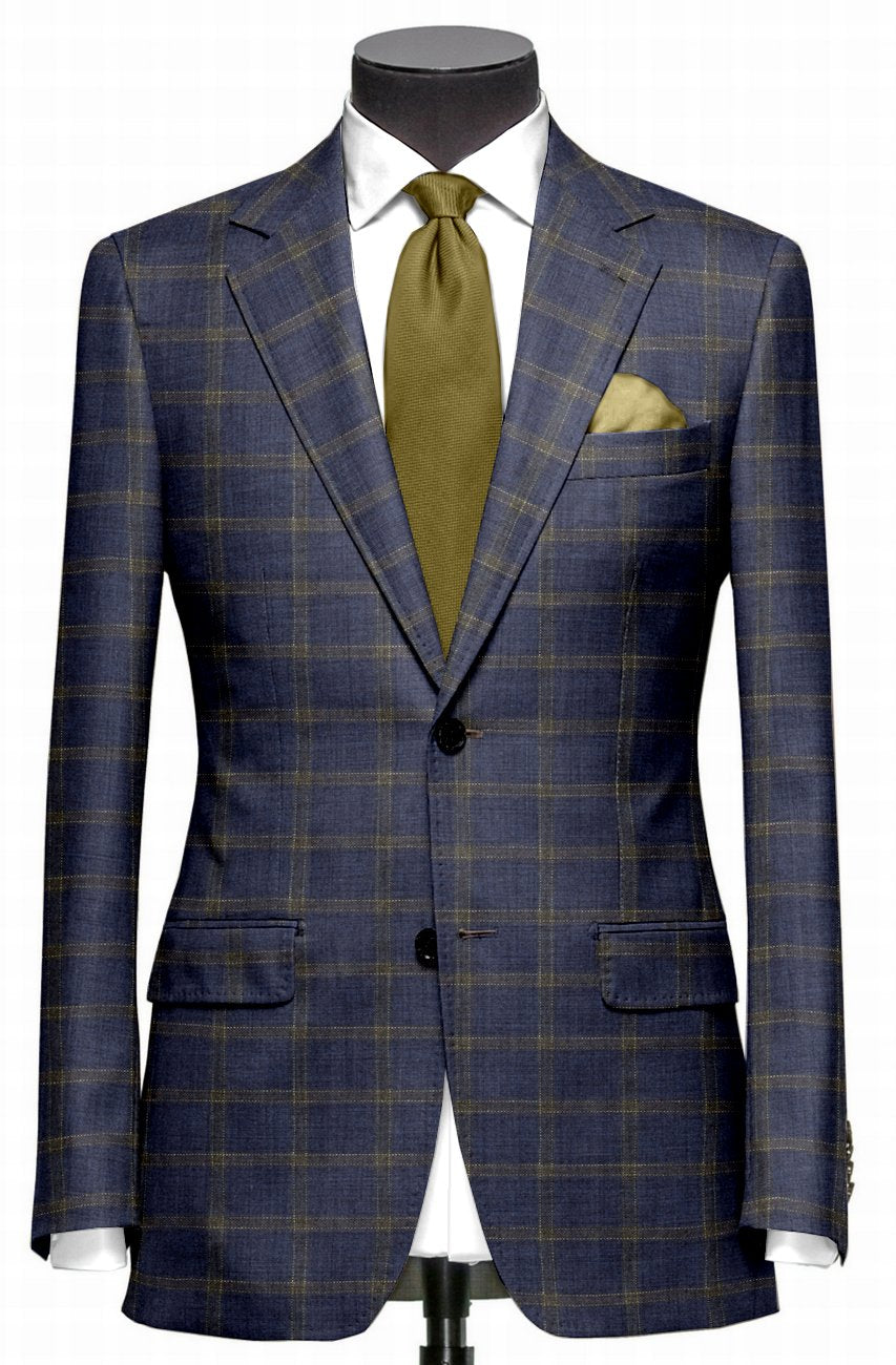 EThomas Wool Cashmere: Dark Blue Windowpane Jacket