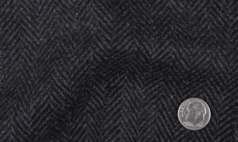 EThomas Wool Cashmere: Dark Grey Herringbone