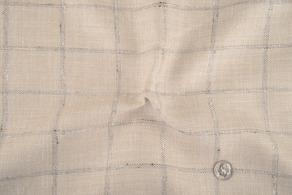 EThomas Ecru Windowpane Checks Jacket
