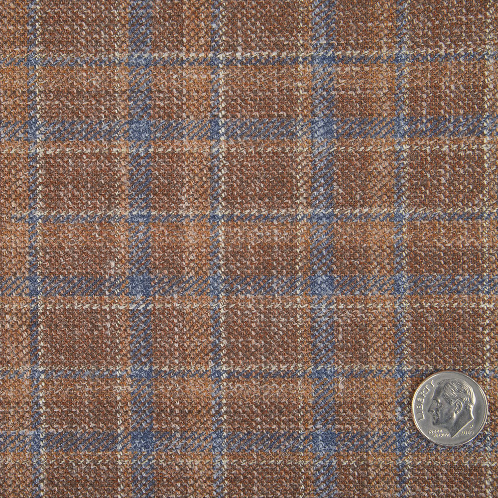 EThomas Brown Indigo Tattersal Plaid Jacket