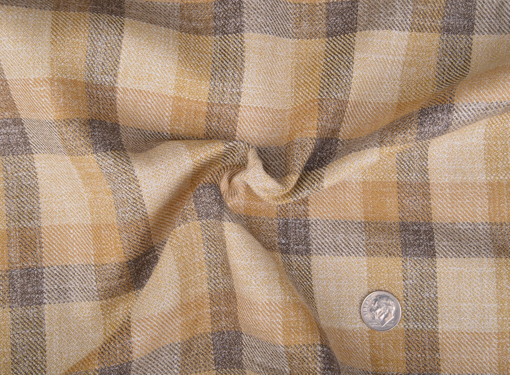 Ethomas Olive Green Beige Mustard Checks Jacket