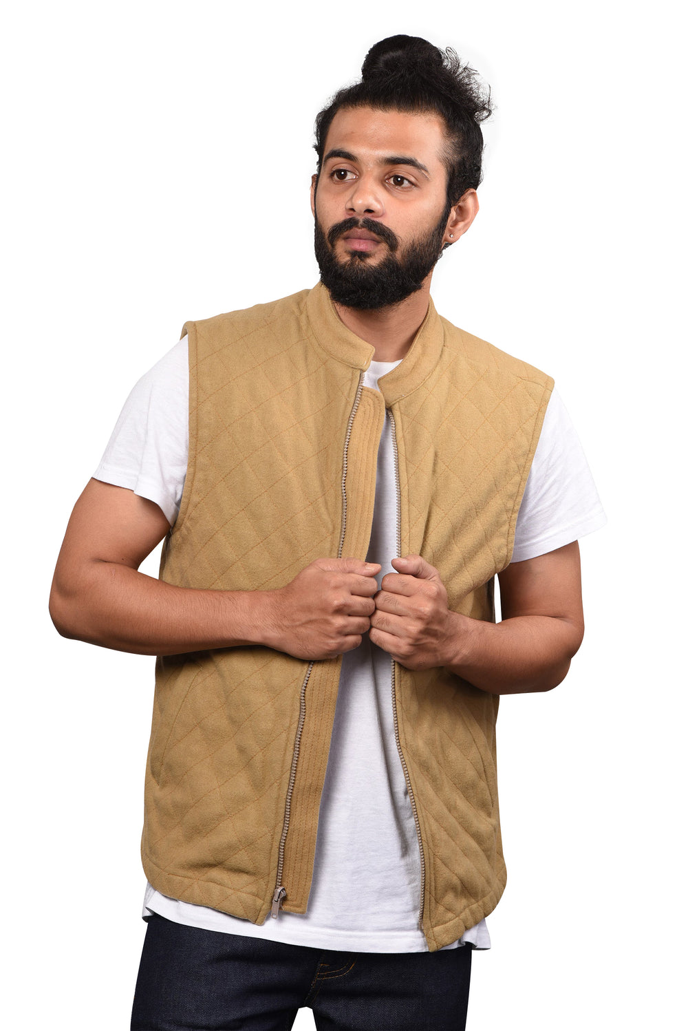 Quilted Gilets in Washable Camel Wool Rich Flannel