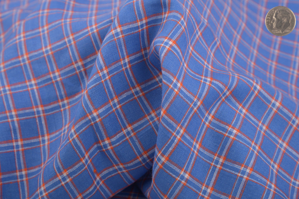 Linen: Orange White Cornflower Blue Tartan Checks (910807428)