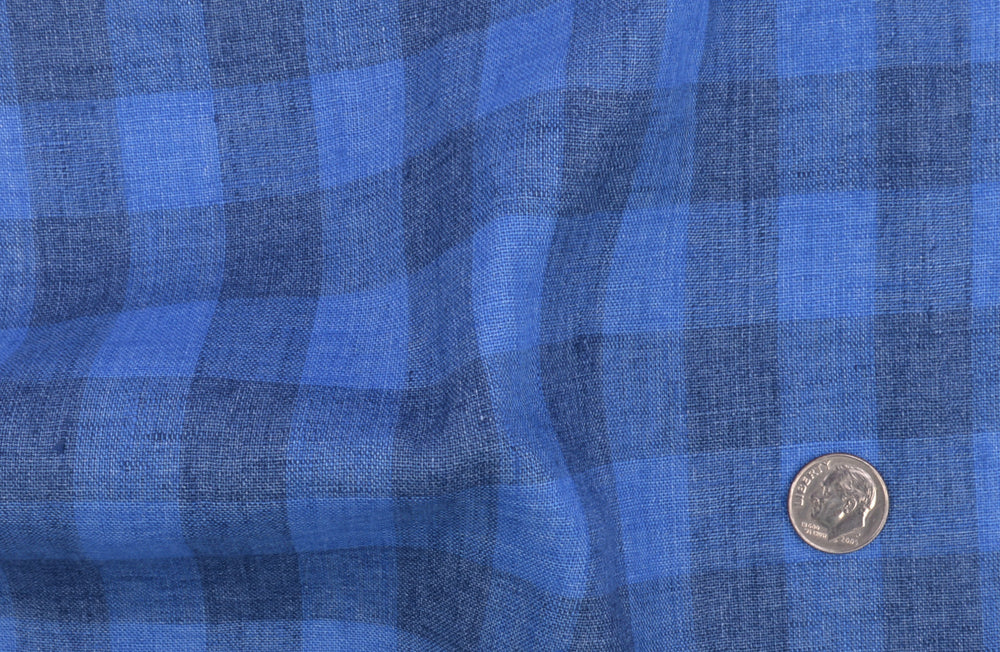 Linen: Shark Blue Casual Gingham