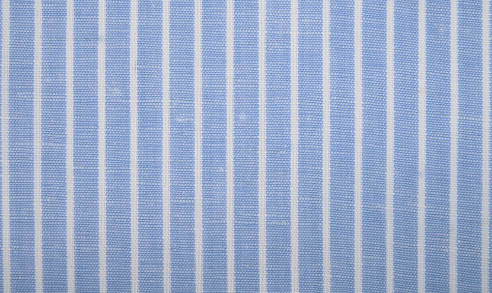 Cotton Linen: White Pin Stripes On Blue