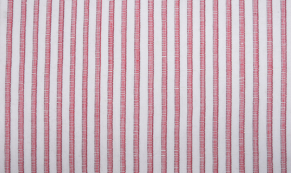 Cotton Linen: Red Candy Stripes On white