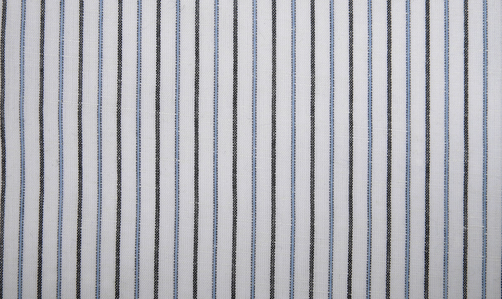 Cotton Linen: Black Blue Alternate stripes On White