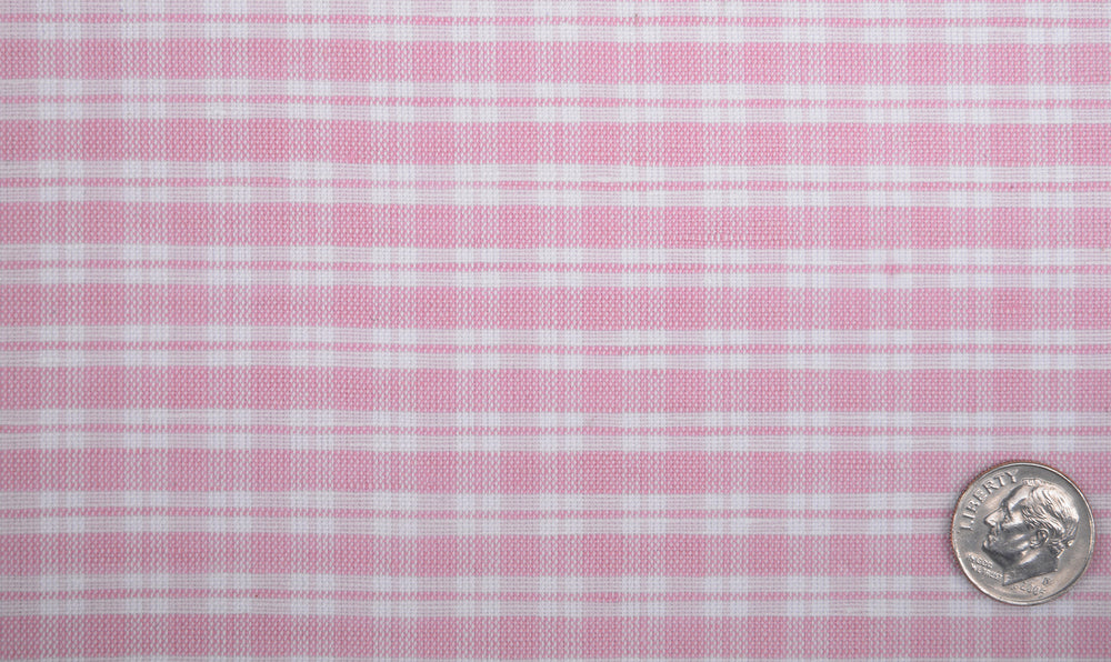 Cotton Linen: Light Pink Tartan Checks On White