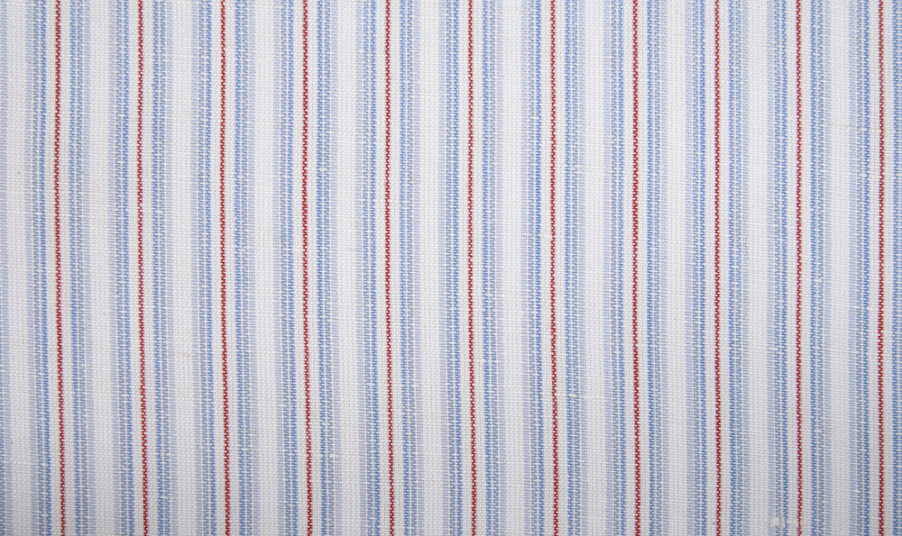 Cotton Linen: Blue Red Alternate Stripes