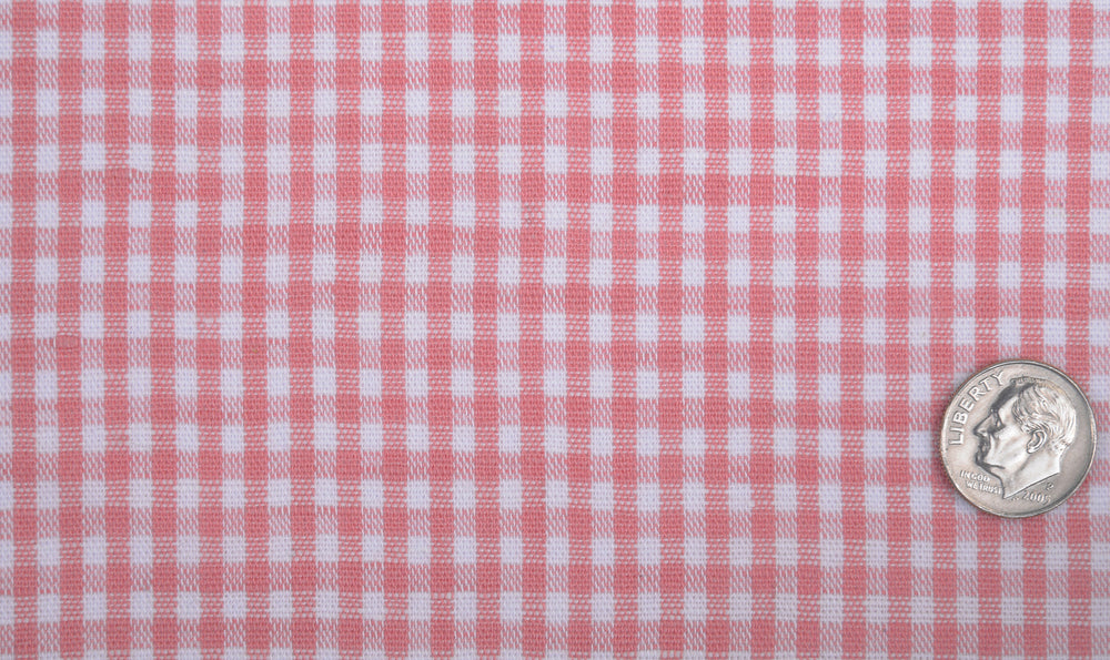 Cotton Linen: Dark Peach Gingham Checks