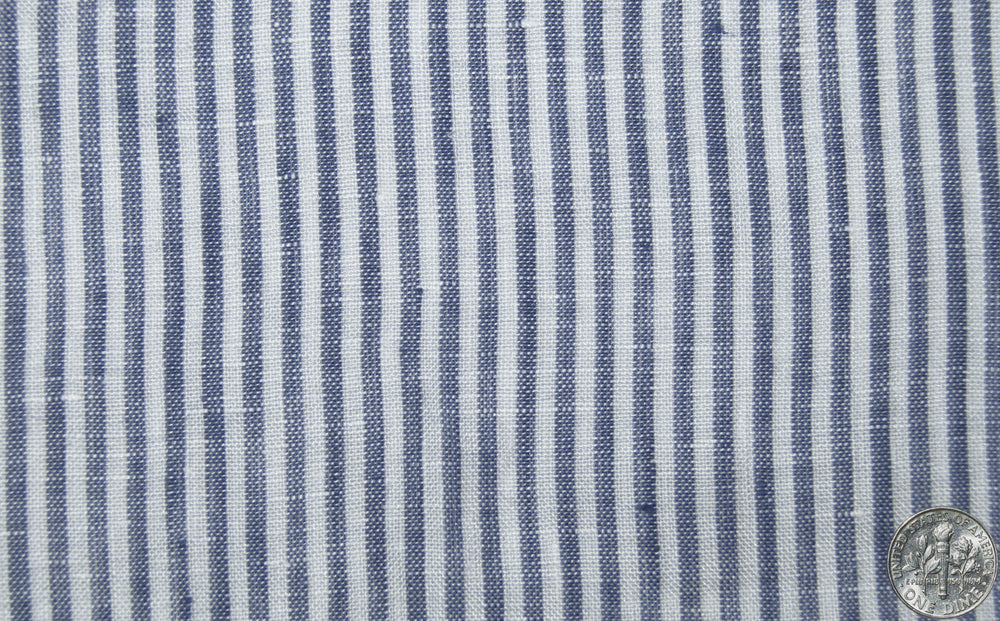 Linen:Indigo White Dress Stripes