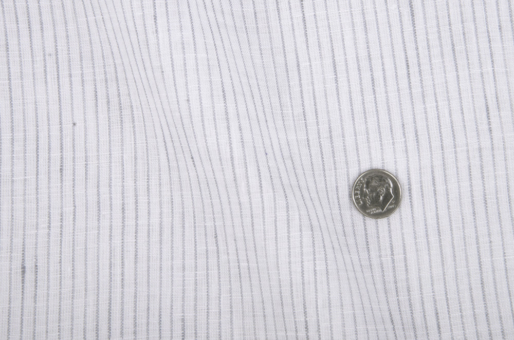 Linen:Vertical Grey Pinstripes on white