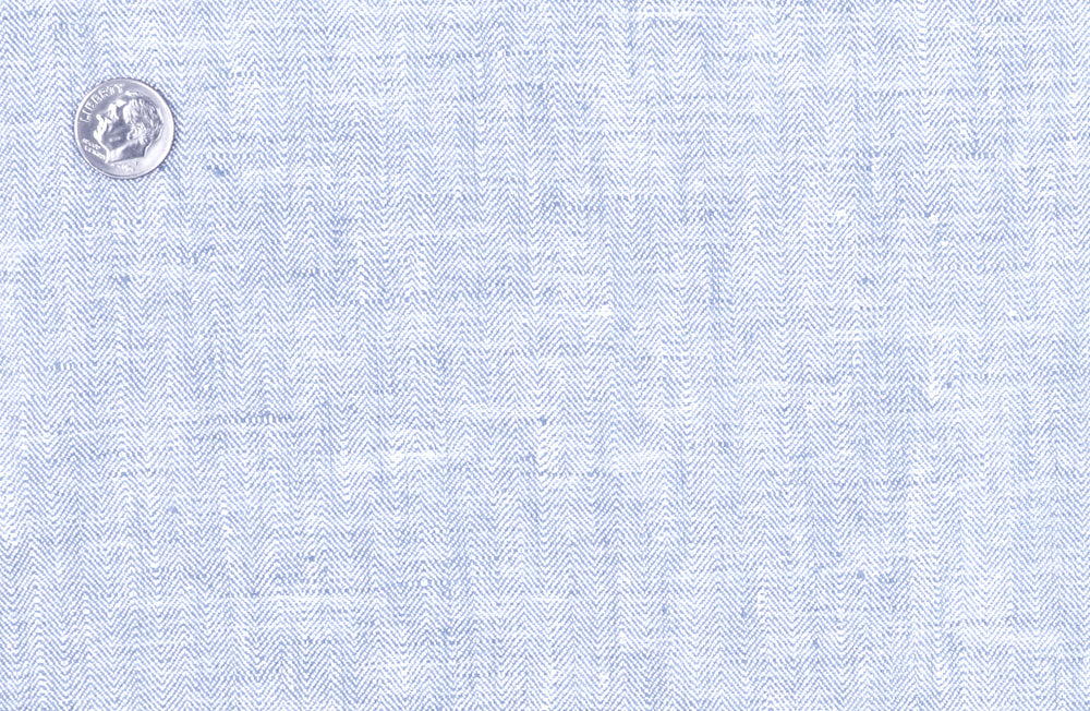 Linen: Herringbone Light Corn Flower Blue