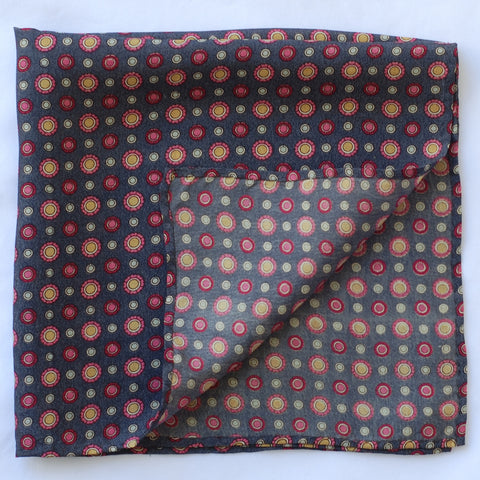 Grey Flowers Pocket Square