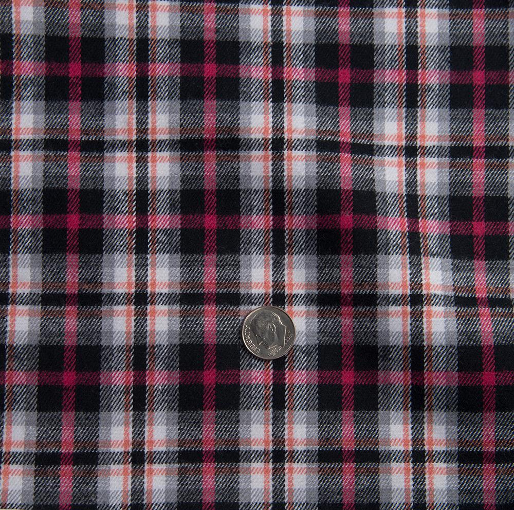 Pink Black White Madras Twill Flannel  (1431590469687)
