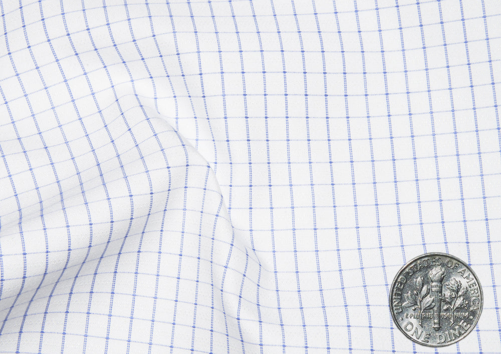 A Touch of Silk:Blue Graph Checks: Natural Wrinkle Free (297231041)