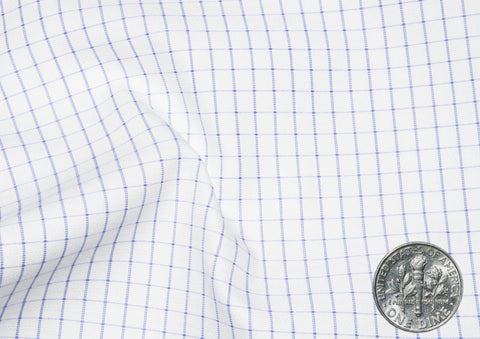 A Touch of Silk:Blue Graph Checks: Natural Wrinkle Free
