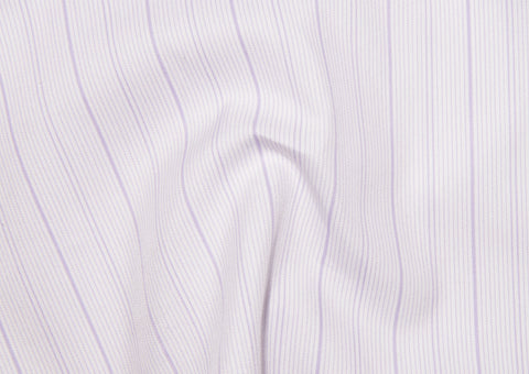 A Touch of Silk:Purple Pin Stripes on White: Natural Wrinkle Free