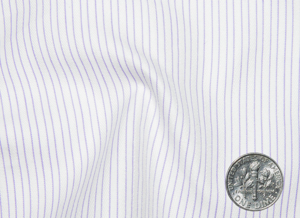 A Touch of Silk: Purple Pin Stripes With White: Natural Wrinkle Free (297231613)