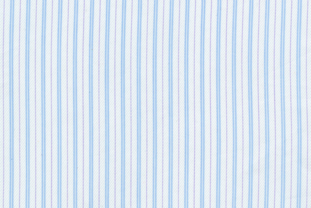 Muave Blue Stripes on White Silk
