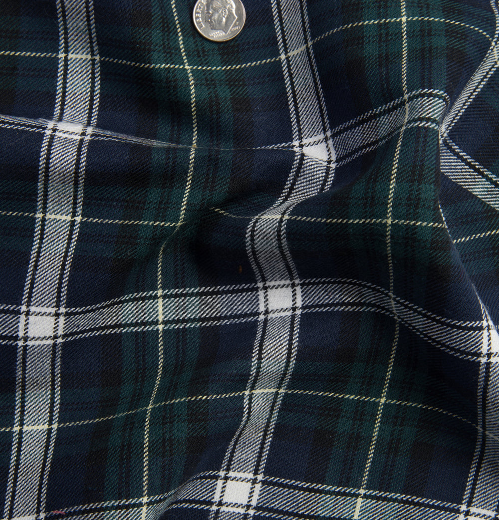 Scottish Green Navy Tartan Twill Flannel